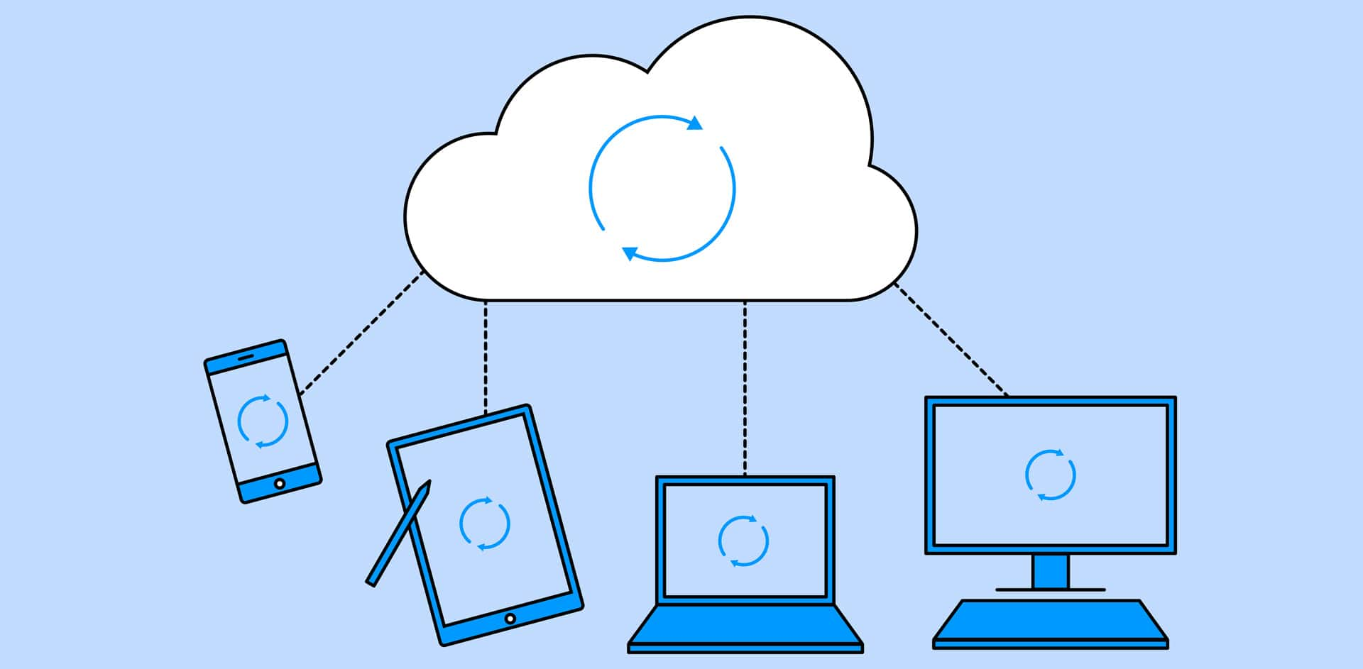 illustration of cloud integration with electronic devices